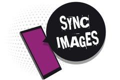 Bilder för synkronisering för handskrifttexthandstil För danandefoto för begrepp receiv för mobiltelefon för menande apparater id stock illustrationer