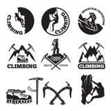 Bilder im Freien Abenteuer und Bergsteigen Illustrationen für Aufkleber oder Logodesigne lizenzfreie abbildung