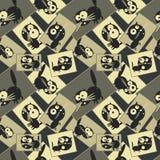 Bilder mit Katzen Nahtloses Muster Vektor Lizenzfreie Stockfotografie