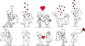 bilder ställde in vektorbröllop vektor illustrationer
