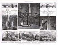 Bilder tryck 1874 av observatorier och teleskop vektor illustrationer