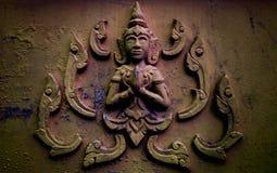 Bilder von Buddha auf Wand des Tempels Lizenzfreies Stockfoto