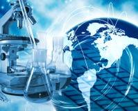 Bilder von chemischen Glaswaren und von Instrumentnahaufnahme Stockbild