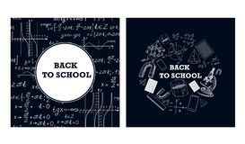 Bilder von Lehrmitteln und von Formeln auf einem Kreidebrett lizenzfreie abbildung