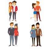 4 Bilder von Paaren in verschiedene Jahreszeiten Lizenzfreies Stockbild