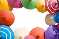 Bilderrahmen der bunten Regenschirme Stockfoto