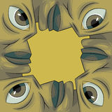 Bilderrahmen gebildet aus vier Gesichtern heraus Lizenzfreie Stockfotografie