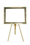 Bilderrahmen mit dem hölzernen Stand lokalisiert auf weißem Hintergrund Stockfotos