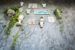 Bilderrahmen und Vasen auf der Wand Lizenzfreie Stockbilder