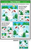 Bildgåtor för vinterferier med den gladlynta snögubben Arkivbild