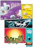 Bildhumorboksidor med komiska remsor för olik bakgrund och olika inskrifter dånar stock illustrationer