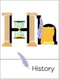 BildkortbokstavsH är för historia royaltyfri illustrationer