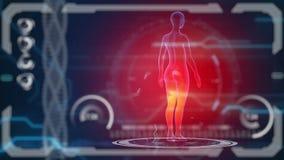 Bildläsarmänniskokropp Futuristisk medicinsk HUD bildskärm Medicinsk begreppsframtid arkivfilmer