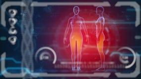 Bildläsarmänniskokropp Futuristisk medicinsk HUD bildskärm Medicinsk begreppsframtid lager videofilmer