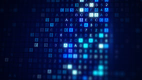 Bildläsningen FÖRHÄXER koden för digitala data 3D framför med DOF Arkivbild
