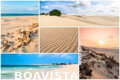 Bildmontage av Boavista ölandskap i Kap Verdebåge Royaltyfri Fotografi