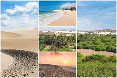 Bildmontage av Boavista ölandskap i Kap Verdebåge Royaltyfria Bilder