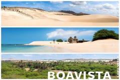 Bildmontage av Boavista ölandskap i Kap Verdebåge Arkivfoton