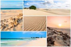Bildmontage av Boavista ölandskap i Kap Verdebåge Fotografering för Bildbyråer
