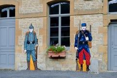 Bildnisoriginalgröße von zwei deutsch und von französischen Soldaten Stockfotografie