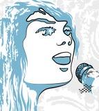 Bildperson, die ein Mikrofon singt Lizenzfreie Stockbilder