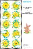 Bildpuzzlespiel - finden Sie zwei identische Bilder von Sonnen Stockbild