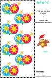 Bildpuzzlespiel mit Weihnachtsflitter - finden Sie zwei identische Bilder Lizenzfreies Stockbild