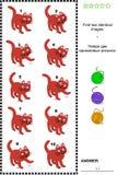 Bildrätsel - finden Sie zwei identische Bilder von Katzen Stockbild