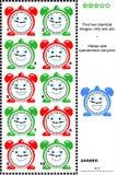 Bildrätsel - finden Sie zwei identische Bilder von Uhren vektor abbildung