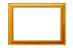 Bildram som isoleras på vit bakgrund, tom antik guld- ram royaltyfri fotografi