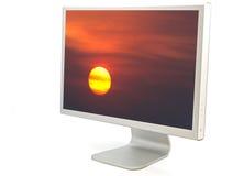 Bildschirm mit einem Foto einer Sonne Lizenzfreies Stockbild