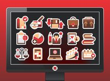 Bildschirm mit Ikonen eines schönen Geschäfts lizenzfreie abbildung