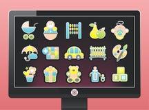 Bildschirm mit Ikonen eines schönen Schätzchens Lizenzfreie Stockfotografie