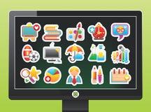 Bildschirm mit Schuleikonen stock abbildung
