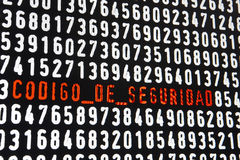 Bildschirm mit Text Codigo de Seguridad auf schwarzem backgroun Lizenzfreies Stockbild