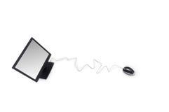 Bildschirm und optische Maus Stockbilder