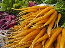 Bildschirmanzeige der Karotten am Markt der Landwirte Lizenzfreies Stockfoto