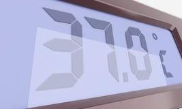 Bildschirmanzeige des elektronischen Thermometers Stockbild