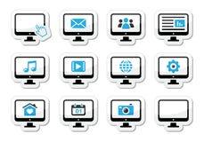 Bildschirmikonen eingestellt als Kennsätze stock abbildung