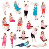 Bildset der schwangeren Frau Stockfotos
