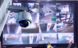 Bildskärm för CCTV-säkerhetskamera i regeringsställning som bygger Royaltyfria Bilder
