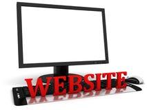bildskärm för dator 3d med den tomma vita skärmen och den röda ordwebsiten vektor illustrationer