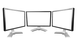 Bildskärm för tre dator Royaltyfri Fotografi