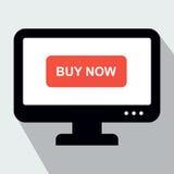 Bildskärm med knappköpet nu Begreppet av direktanslutet shoppar Royaltyfria Bilder