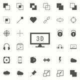 bildskärm med symbolen 3d universell uppsättning för rengöringsduksymboler för rengöringsduk och mobil vektor illustrationer