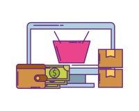 Bildskärmdator med plånbokpengar och symboler stock illustrationer