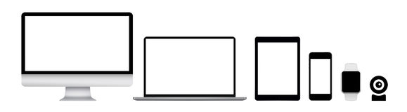 Bildskärmen bärbara datorn, minnestavlan, smart telefon, ilar klockan och rengöringsdukkammen vektor illustrationer