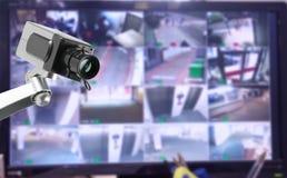 Bildskärm för CCTV-säkerhetskamera i regeringsställning som bygger Arkivbilder