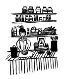 Bildteckningen av en ung flicka i en gammalmodig klänning i förpackande grönsaker för en livsmedelsbutik skissar dendrog illustra Royaltyfri Fotografi