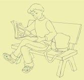 bildtidskriften läste avläsarvektorbarn royaltyfri illustrationer